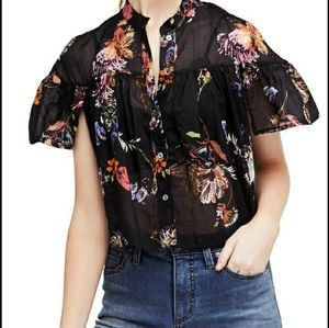 Free People Sweet escape floral short sleeve Top L
